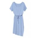 Round Neck Short Sleeve Tie Waist Plain Midi Asymmetrical Hem Dress