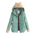 Fur Hooded Patchwork Long Sleeve Zipper Padded Cute Coat