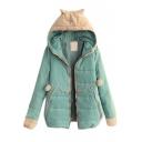 Fur Hooded Patchwork Long Sleeve Zipper Padded Cute Coat