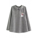 Doll Lapel Cat Embroidery Long Sleeve Houndstooth Blouse