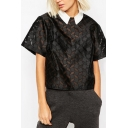 Peter Pan Collar Geometric Sheer Short Sleeve Cropped Shirt