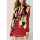 Color Block Tie-Dye Open Front Faux Fur Sleeveless Vest