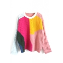 Round Neck Color Block Patchwork Cable Knit Batwing Sleeve Sweater