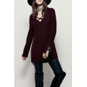 Crisscross Front Long Sleeve Plain Split Side Dip Hem Sweater