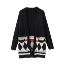 Cocoon Neck Geometric Jacquard Double Pockets Long Cardigan