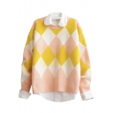 Round Neck Geometric Color Block Long Sleeve Soft Sweater