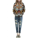 Tiger 3D Print Hooded Long Sleeve Pullover Sweatshirt