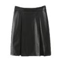 Plain High Waist Zip Side A-Line PU Midi Skirt