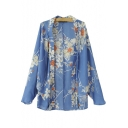 Blue Floral Print Cocoon Neck Longline Kimono