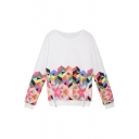 White Zipper Detail Colorful Geometric Print Sweatshirt