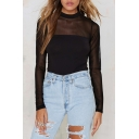 Sheer Patchwork Plain Round Neck Long Sleeve Black Tee