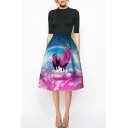 Rainbow & Unicorn Print High Waist A-Line Skirt