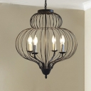 20 Inches Wide Matte Black Cage Pearl Foyer LED Pendant