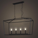 Matte Black 4 Light Square Open Cage Large LED Pendant