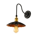 Vintage 1-Light LED Wall Sconce with Floral Round Metal Shade in Black
