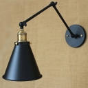 Adjustable Industrial LED Wall Sconce in Black