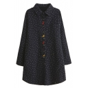 Polka Dot Cartoon Embroidery Loose Button Down Shirt Dress
