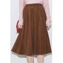 Elastic Waist Polka Dot Pleated Midi Skirt