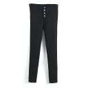 Button Fly Velvet Plus Skinny Black Capris Pants