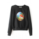 Animal Patchwork Round Neck Long Sleeve Sweatshirt