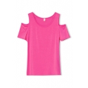 Cold Neck Short Sleeve Plain Round Neck Tee