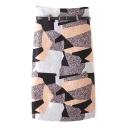 Geometric Print Color Block Tweed Tube Midi Skirt with Belt