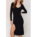 V-Neck Long Sleeve Plain Split Side Bodycon Midi Dress