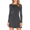 Boat Neck Long Sleeve Plain A-Line Knit Gray Dress