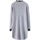 High Neck Lace Patchwork Curved Hem Split Side Sweater