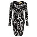 Zip Back Geometric Print Long Sleeve Bodycon Mini Dress