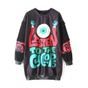 Patchwork Horror Eye & Letter Print Tunic Sweatshirt