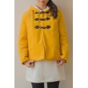Hooded Plain Horn Button Detail Long Sleeve Tweed Coat
