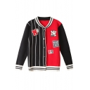 Stripe Trims Color Block Single Breasted Letter Print Jacket