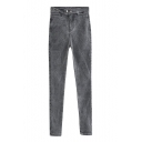 Double Button Washed Old Mid Waist Zipper Fly Skinny Jeans