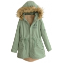 Fur Hooded Drawstring Waist Letter Print Long Padded Coat