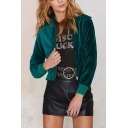 Green Plain Lapel Cropped Velvet Long Sleeve Jacket