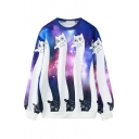 Galaxy & Cat Print Round Neck Long Sleeve Loose Sweatshirt