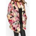 Colored Faux Fur Open Front Long Sleeve Lapel Coat