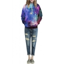 Hooded Long Sleeve Blue Galaxy Print Loose Sweatshirt