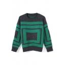 Geometric Color Block Round Neck Long Sleeve Sweater
