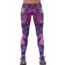 Purple Sexy Girl Print Stretch Elastic Waist Leggings