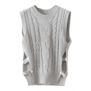 Round Neck Sleeveless Plain Cable Knit Split Side Button Detail Sweater
