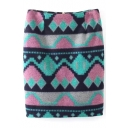 Geometric Print Zip Back Bodycon Color Block Tweed Mini Skirt