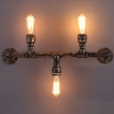 22 Inches Wide Antique Copper Three Light Indoor LED Wall Lamp