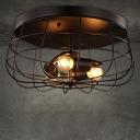 Satin Black  Neo-Industrial 3 Light LED Flush Mount Ceiling Fixture