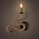 Snake Shape One Bulb Burlap LED Wall Sconce