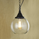 Matte Black Tear Drop Suspension Retro Style Single Light Mini Hanging Pendant with Clear Glass Shade