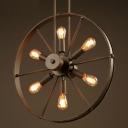 Industrial Style  Loft Wrought Iron Wheel LED Chandelier