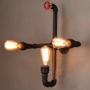 Black Finished Pipe 3 Light LED Wall Sconce