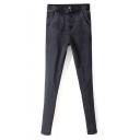 Elastic Waist Acid Wash Black Skinny Plain Jeans